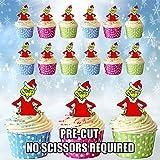 AK Giftshop Grinch für Weihnachten, vorgeschnittene, essbare Cupcake-Topper/Kuchen-Dekorationen (12Stück)