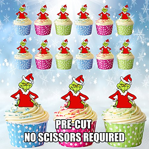 Dekorationen Grinch Weihnachten (vorgeschnittenen Weihnachten Grinch–Essbare Cupcake Topper/Kuchen Dekorationen (12Stück))