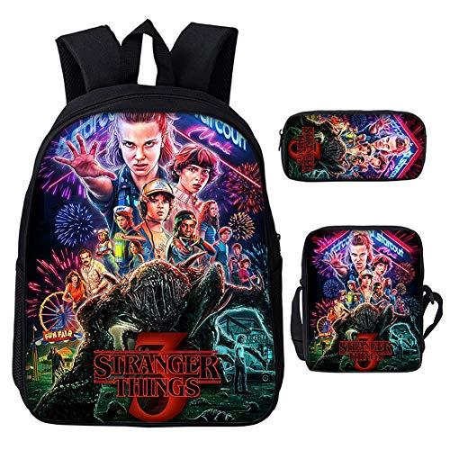 MD@Backpack 3-teiliges Schulrucksack-Set, Enthält Stranger Things-Thema Bookbag für Teens School, Lunchpaket, Reißverschluss-Federmäppchen,005 (Mesh-plaid-rucksack)