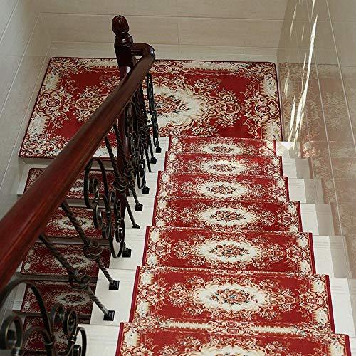 Ambiguity Treppenmatte, Europäische Treppe Lauffläche roten Teppich Matte Kleber-Freien Selbstklebende Anti-Rutsch nach Hause Prüfung solide Holz Treppe Fußmatte 10 aus dem Batch, 65 * 24 + 3