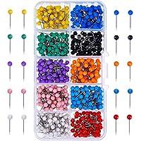 TOOGOO Map Tacks Push Pins Cabezal de plastico con punta de acero, 4 mm, 500 piezas