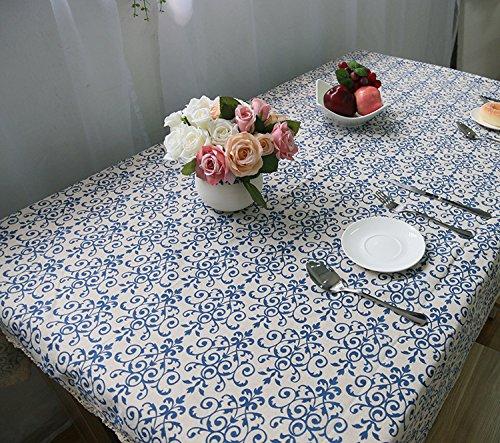 hybeibei rectangular lino y algodón lavable mantel rectangular Vintage cena Picnic mantel...