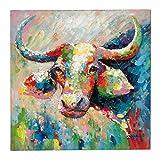 miaVILLA Bild Bunte Kuh Bunt Acryl auf Leinwand ca. 100 x 100 cm