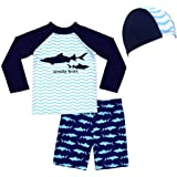 Lazzon Bambini Tuta Costume da Bagno Piscina Bambina Protezione UV Maglia + Pantaloncini + Cappellino