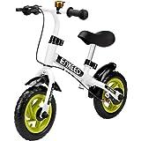 ENKEEO 10 Zoll Laufrad Sport Balance Bike Lernlaufrad Kinderfahrrad ab 2 Jahren mit Klingel und Fahrradständer (Weiß)