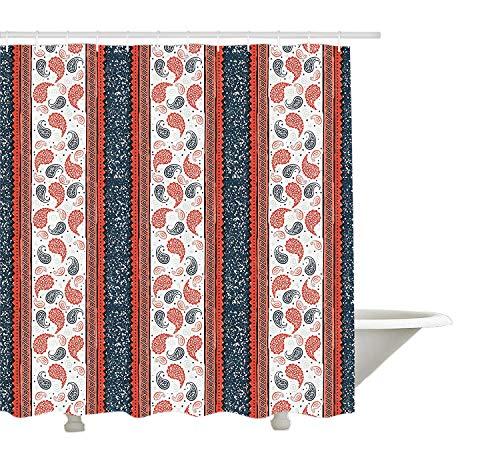 Yeuss moderner Duschvorhang, ethnischen afrikanischen Tribal Style Grenzen und Paisley Motiv Image Print, Stoff Badezimmer Dekor Set mit Haken, dunkle Schiefer blau weiß und rot -