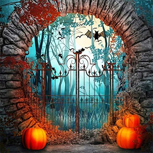 YongFoto 2,5x2,5m Vinyl Foto Hintergrund Halloween Gruseliges Tor Kürbis Fotografie Hintergrund für Fotoshooting Fotostudio Requisiten