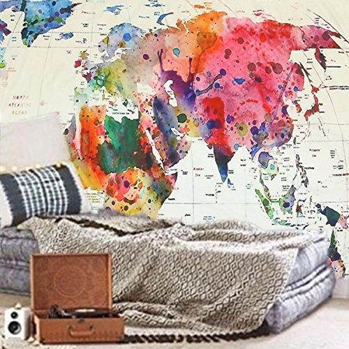 Jeteven Wandteppich mit Weltkarte Riesen Wandbild für Kinderzimmer,Effeket: Aquarell,150X130cm, Hallo!