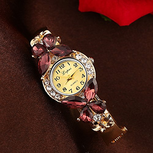 Dilwe Frauen-Dame Rhinestones-Uhr, 6 Farben-Quarz-Bewegungs-analoge Legierungs-Material-kleine runde Zifferblatt-Uhr(Violett) -