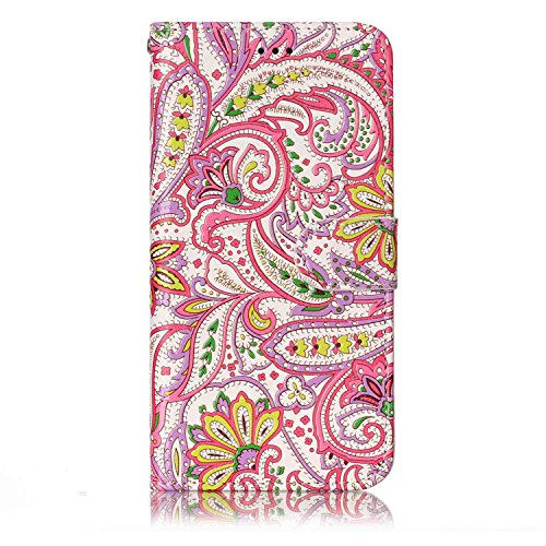 Coque Etui pour LG G6,LG G6 Coque Portefeuille PU Cuir Etui,LG G6 Coque de Protection en Cuir Folio Housse, iPhone 7 Leather Case Wallet Flip Protective Cover Protector, Ukayfe Etui de Protection PU C Couleur de la fleur