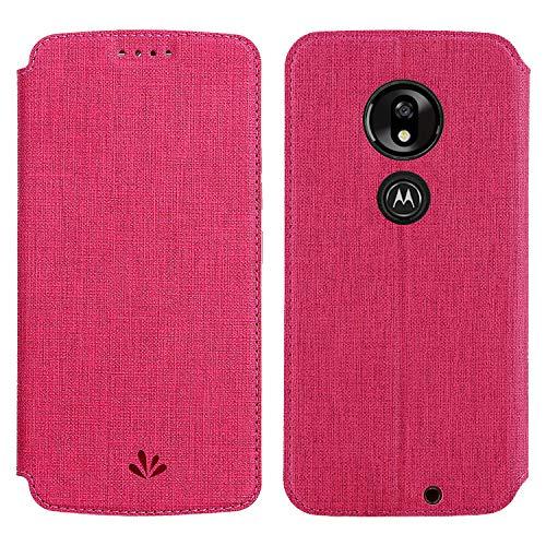 Simicoo Motorola Moto G7 Flip PU Leder Brieftasche Hülle Kartenhalter Ständer Magnetische Schutzhülle Klar Silikon TPU Full Body Stoßfest Tasche Dünn Wallet Case für Moto G7, Moto G7 Play, rot (Hinweis 2 Wallet Case Rot)
