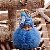 TotallyFashion - Llavero con forma de muñeca durmiendo, pompón, bola de felpa sintética para llavero de coche, accesorios colgantes para niñas y mujeres (rosa claro) azul celeste