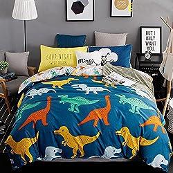 YGJT Ropa de Cama Funada de cama Poliéster Dinosaurio para Cama 4 piezas 1 Funda para edredón 150*200cm 1 Sábana 200*230cm 2 Funda para almohada 74*48cm Color Azul Oscuro