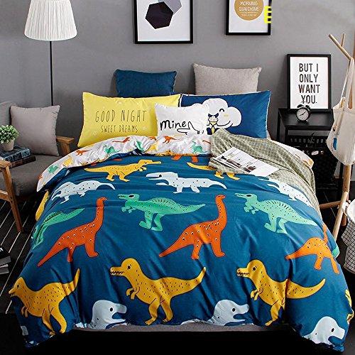 Ropa de Cama Infantil Lindo Animal Dinosaurio Poliéster para Cama(90cm-135cm) 4 piezas 1 Funda para edredón 150x200cm 1 Sábana 200x230cm 2 Funda para almohada 74x48cm