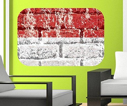 Flagge Indonesien Wandbild Land in Asien Wandaufkleber Wandsticker indonesische Dekoration Wohnzimmer Aufkleber 11B385, Wandbild Größe B:144x96cm -