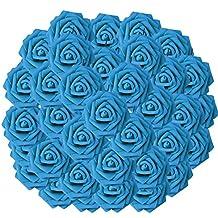 Gosear 50 pz Artificiale Rose di Schiuma Mazzi di Fiori con Gambo per la Giornata Degli Insegnanti Festa Della Mamma Regalo Festa di nozze Decorazione Della Casa Blu