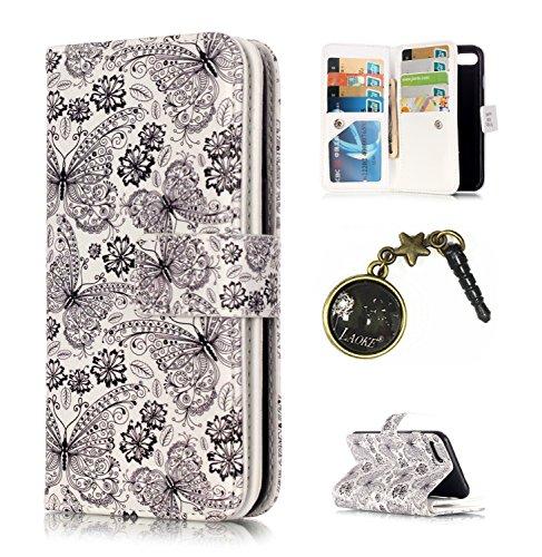 für Smartphone Apple iPhone 7 (4.7 Zoll) Hülle, Klappetui Flip Cover Tasche Leder [9 Kartenfächer] Schutzhülle Lederbrieftasche Executive Design +Staubstecker (1MY)