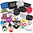 Party Propz Birthday Photo Booth Props 26Pcs Set with Funny Crown Fun Mask Hats Beard Happy Face Wig Mustache Prop for Boys G