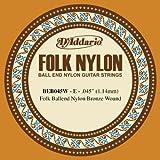 D\'Addario Corde seule en nylon pour guitare folk D\'Addario BEB045W, filet en bronze, extrémité à boule, .045
