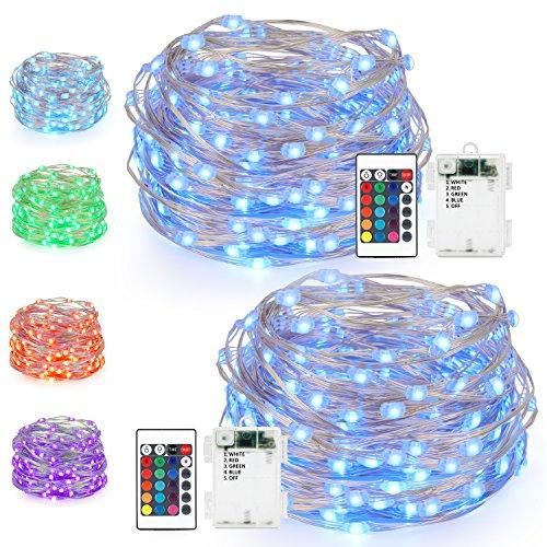 Kohree 50 LEDs Farbige Lichterkette Silberdraht, Batteriebetriebene Lichterkette Bunt 5M/16ft für Schlafzimmer, Party, Außen, Garten, Weihnachtsbaum, 2 Stück -