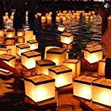 Set Of 50 White & Gold Floating Candle Wish Lanterns