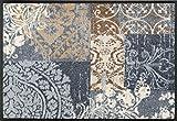 Fußmatte / Fussmatte / Fußabstreifer / Fußabtreter / Fussabstreifer / Fussabtreter / Schmutzmatte / Sauberlaufmatte / Türfussmatte / Türmatte / Schmutzfangmatte / Matte / Schmutzmatte / Abstreifer / Schuhmatte / Schuhabtreter / grau mit verspielten Muster Luxus hochflor / Größe ca. 50 x 75 cm / repräsentative Fußmatte für Eingangsbereiche / Die Matte ist waschbar