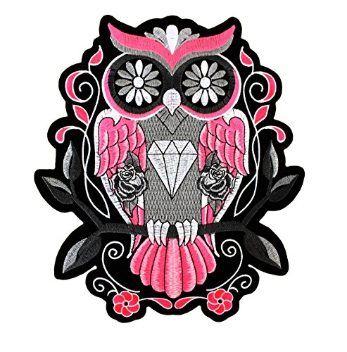 Aufnäher/Bügelbild - Eule Vogel Rosa Rose - 23.5 X 21 cm Groß XL - Sugar Candy Diamant Patches zum Aufbüglen Iron on Patch Flicken Applikation Für Kleidung Jeans Jacken - Treasure-Quest