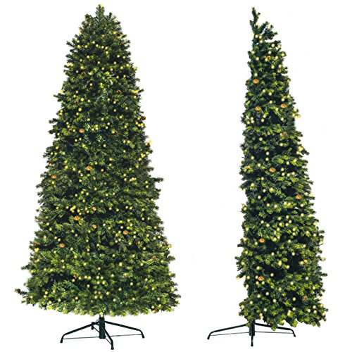 Árbol de Navidad Artificial de pared Premium | Medio árbol para ahorrar espacio | luces LED (580 unidades) ya instaladas| 2,3 M Entero o 1,5 M Sin parte baja, más de 1250 puntas de púa de PE, y piñas naturales |The StartUp.…