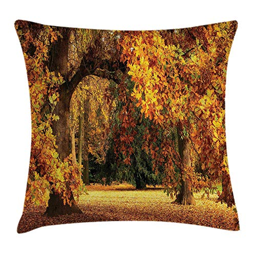 Scenery Decor Throw Pillow Cushion Cover, Tranquil Autumn Season in Park with Faded Fall Leaves Pastoral Woodland, Decorative Square Accent Pillow Case, 18 X 18 inches, Orange and Brown