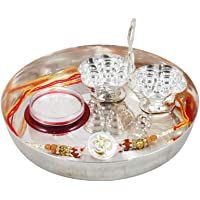 GoldGiftIdeas Pure 999 Silver OM Rakhi for Brother, Golden -Silver Rakhi for Rakshabandhan with Pooja Thali Set (5 Inch), Rudraksh Tulsi Beads Elegant Rakhi (Men/Boys), Rakhi Gift