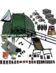 Full Carp Fishing Set Up ,Chair , Rods, NGT Reels, Alarms,Net,Handle,Bait Bivvy Shelter GIANT TACKLE PACK ,Mat ,Scales,Hooks