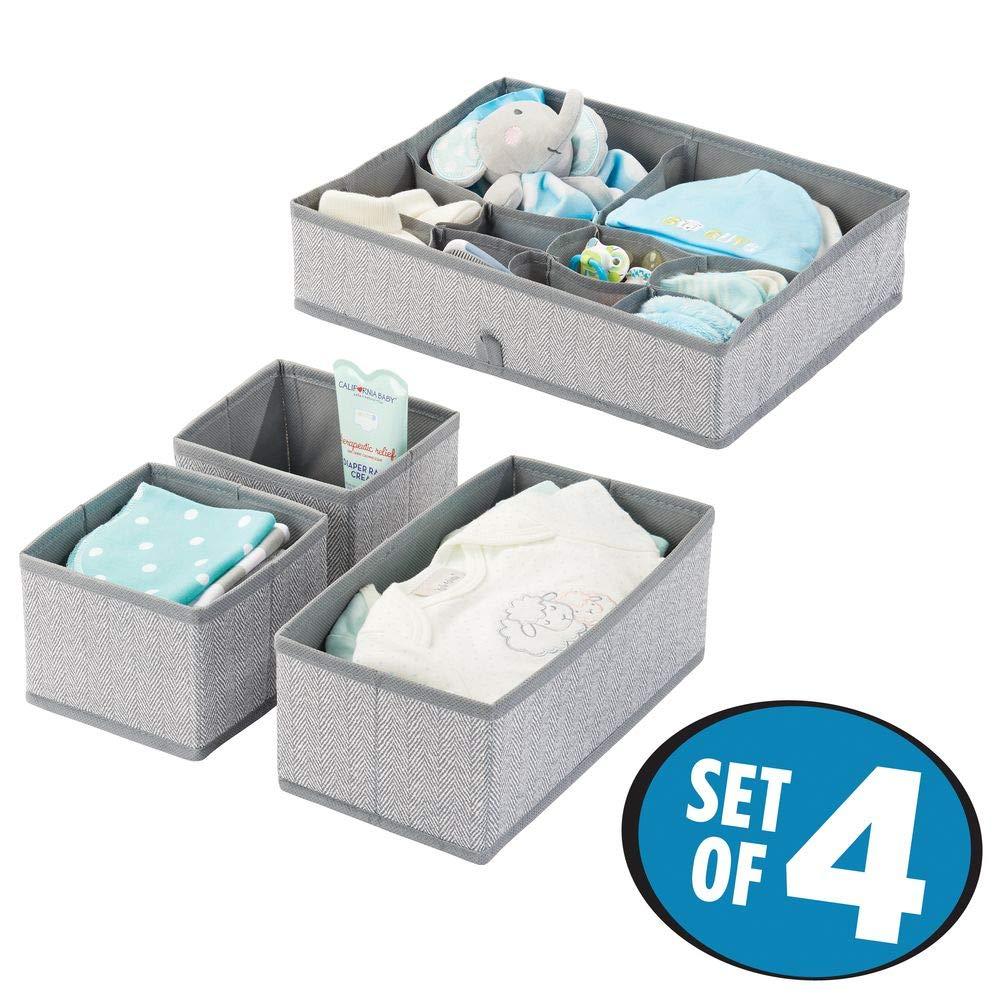 corbeilles de Rangement /à 2 Compartiments chacune pour Accessoires Turquoise//Blanc mDesign bo/îte de Rangement Box de Rangement /à Pois en 2 Tailles diff/érentes pour tiroirs Lot de 4