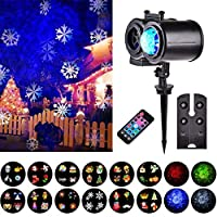 LED Projector Lights, YGZN Christmas Water Wave Light Projector 2-in-1 Moving Patterns with 12 Replaceable Slides, Outdoor/Indoor Party Lights Projector (EU-Black)