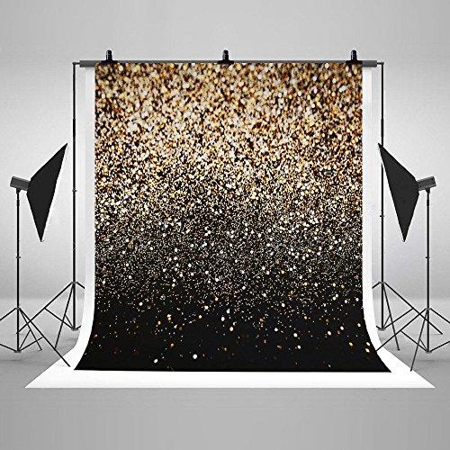 6x 2,4m Vinyl Digital Glitzer Schwarz Gold Dots Fotografie Studio Hintergrund
