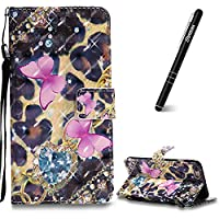 iPhone 6 Plus Case, iPhone 6 Plus Leather Case Wallet, Slynmax 3D Printing Pink Butterfly Design Flip Folio PU Leather Wallet Case Inner Soft TPU Cover with Stand Function Hand Strap Card Holders Magnetic Closure Book Style Shock Resistant Protective Case