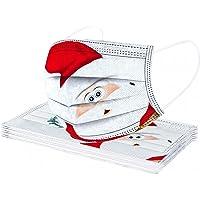 Alueeu 10 Stück Weihnachtsmaske Erwachsene Mundschutz mit Motiv Weihnachten Bunt MNS Mund und Nasenschutz Cartoon Druck…