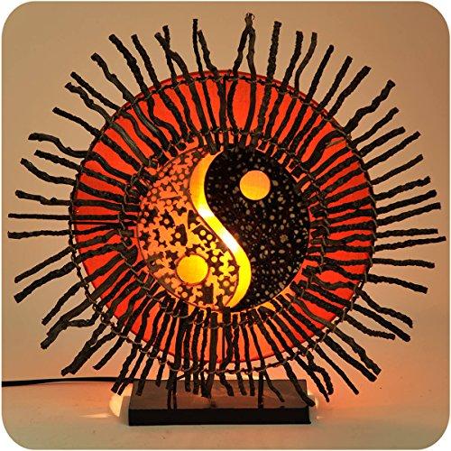Deko-Leuchte Stimmungsleuchte Stehleuchte Tischleuchte Tischlampe Bali Feng Shui Yin & Yang Sonne Color Orange (Yin-yang-stoff)