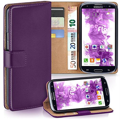 moex Samsung Galaxy S3 | Hülle Lila mit Karten-Fach 360° Book Klapp-Hülle Handytasche Kunst-Leder Handyhülle für Samsung Galaxy S3 / S III Neo Case Flip Cover Schutzhülle Tasche
