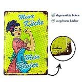 Retro-Blechschild Küche Vintage Magnet-Metallschild Werbeschild 20x30 cm Türschild Küche Sprüche Deko Wandschild Geschenk Mama