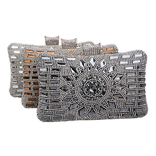 ruiio Fashion Lady Diamond Luxus Abend Handtasche Hochzeit Party Clutch Make-up Taschen Tasche Geldbörse Pure Black
