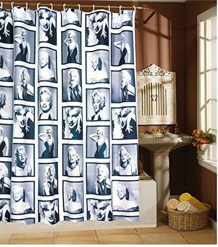 Leguana - Tenda per doccia, motivo Marylin Monroe, 200 x 180 cm, inclusi 12 anelli