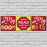 """Nutcase Designer Wall Art Hanging Decor For Living Room Bedroom –3 Frames, 9""""x9"""", Non-Fading Decoration Lifeproof Prints - My Room My Rules"""