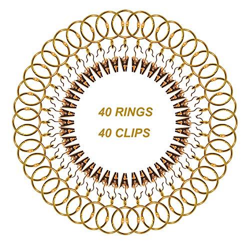 CUKCIC 40 Stücke Vorhangringe 40 Stücke Vorhangclips 32mm Innendurchmesser Metall Vorhänge Ringe Hängende Ringe für Vorhänge und Stangen (Stange Metall Vorhang Ring Stange)