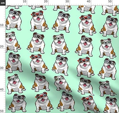 Bulldogge, Cool, Hunde, Sonnenbrillen Stoffe - Individuell Bedruckt von Spoonflower - Design von Floramoon Gedruckt auf Baumwoll Spandex Jersey
