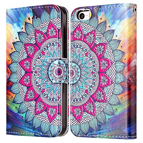 """MOONCASE iPhone 5/iPhone 5s/iPhone SE Handyhülle, [Colorful Relief Pattern] Stoßfest Ganzkörper Schutzhülle mit Ständer Leder Tasche Case für iPhone SE 4.0"""" Butterfly Flower"""