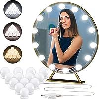 LED Lumière de Miroir 3 Couleur/10 Luminosité Dimmable, Kit de 14 Ampoule Lumière Hollywood, Quntis LED Lampe Applique…