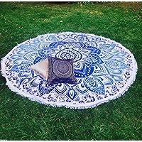 Color azul y blanco flores mandala redonda Glorafilia manta Hippie Gypsy playa manta esterilla de yoga