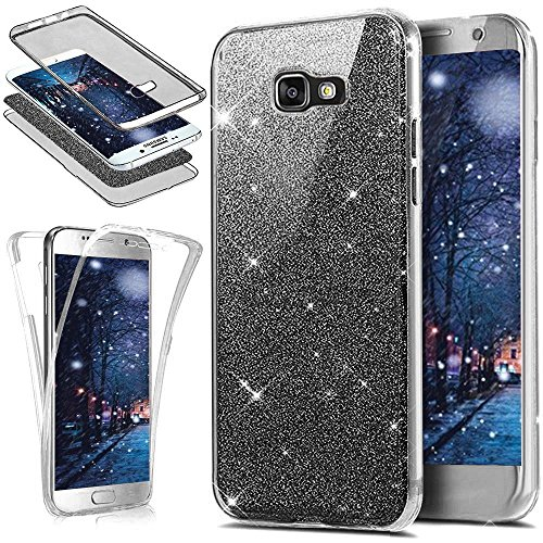Coque Galaxy A7 2017, Coque Galaxy A7 2017 360 Degres Silicone, SainCat Ultra Slim Silicone Case Cover pour Samsung Galaxy A7 2017, Bling Glitter Full Protection 360 Ultra Slim Transparente Antichoc Soft Gel TPU Cover Crystal Clear Coque Caoutchouc Transparent Silicone Case, Coque Souple Housse Silicone Ultra Mince Shockproof Shell Ultra Thin Bumper Case Skin Étui Coque Anti Choc Housse Bumper Cover pour Samsung Galaxy A7 2017-Noir SainCat