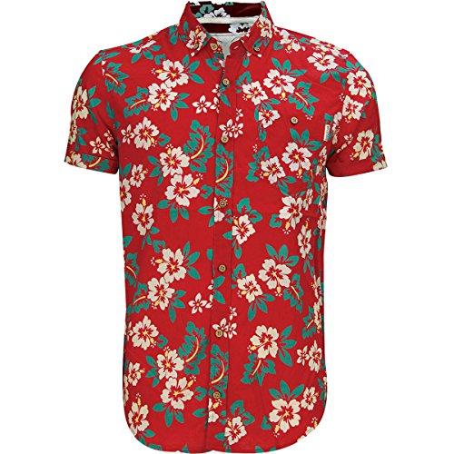 Herren Soulstar Tiki 3 Baumwolle Rundum-blumenaufdruck Hemd Mit Geknöpftem Kragen Top Rot