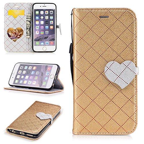 Nancen Wallet Case Hülle für Apple iPhone 6 / 6S (4,7 Zoll) ,Liebesform-Taste Magnet ,Muster Flip Funktion Kartenfächer Etui ,Schütze dein Telefon